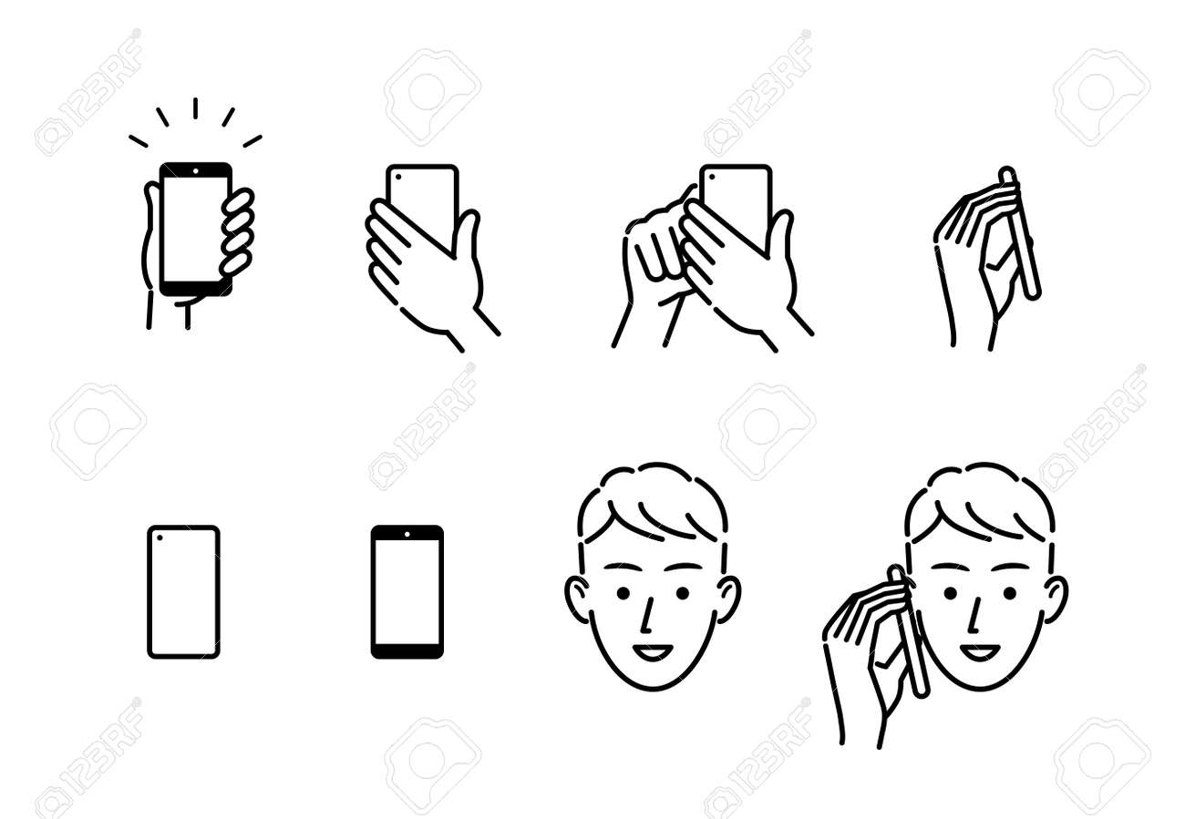 Smartphone and hand and person face icon - 169191114