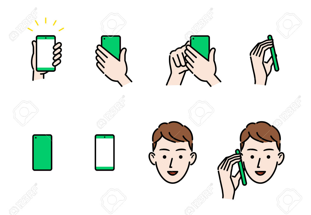 Smartphone and hand and person face icon - 169191115