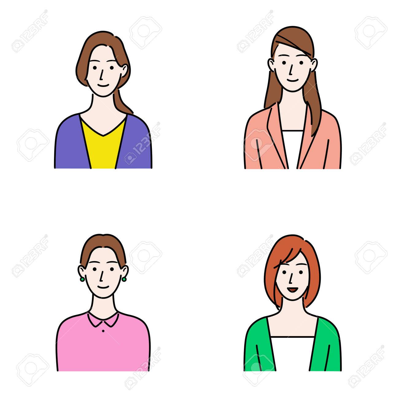 Illustration set of various women's upper body - 169272179