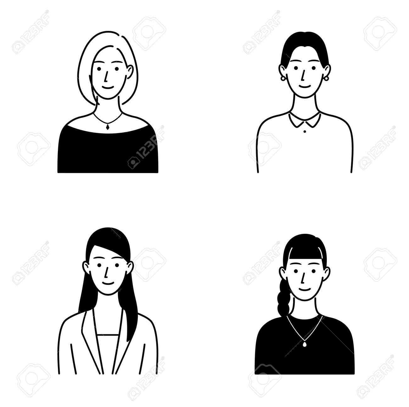 Illustration set of various women's upper body - 169272181