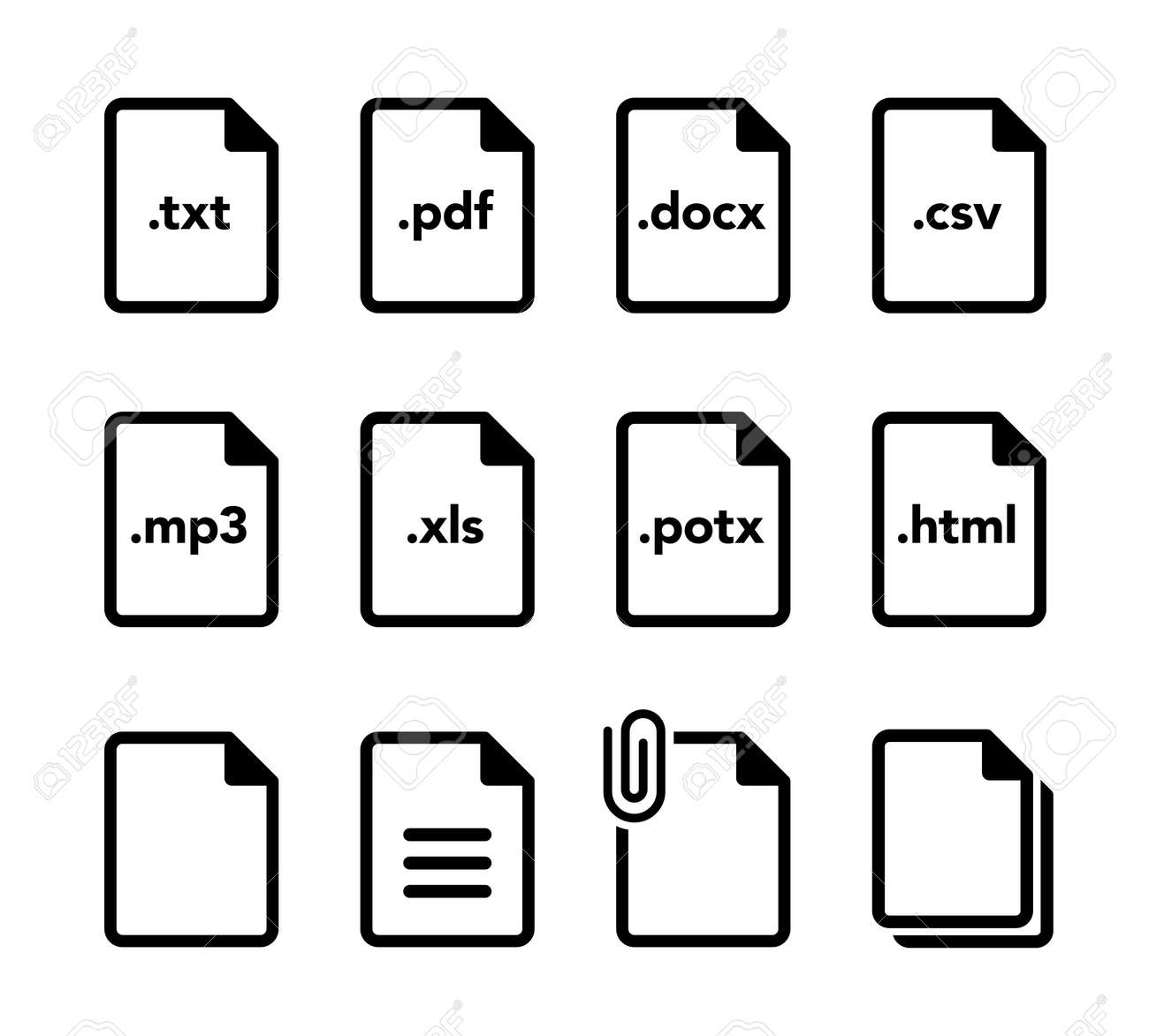 Document file format icon set - 169388400