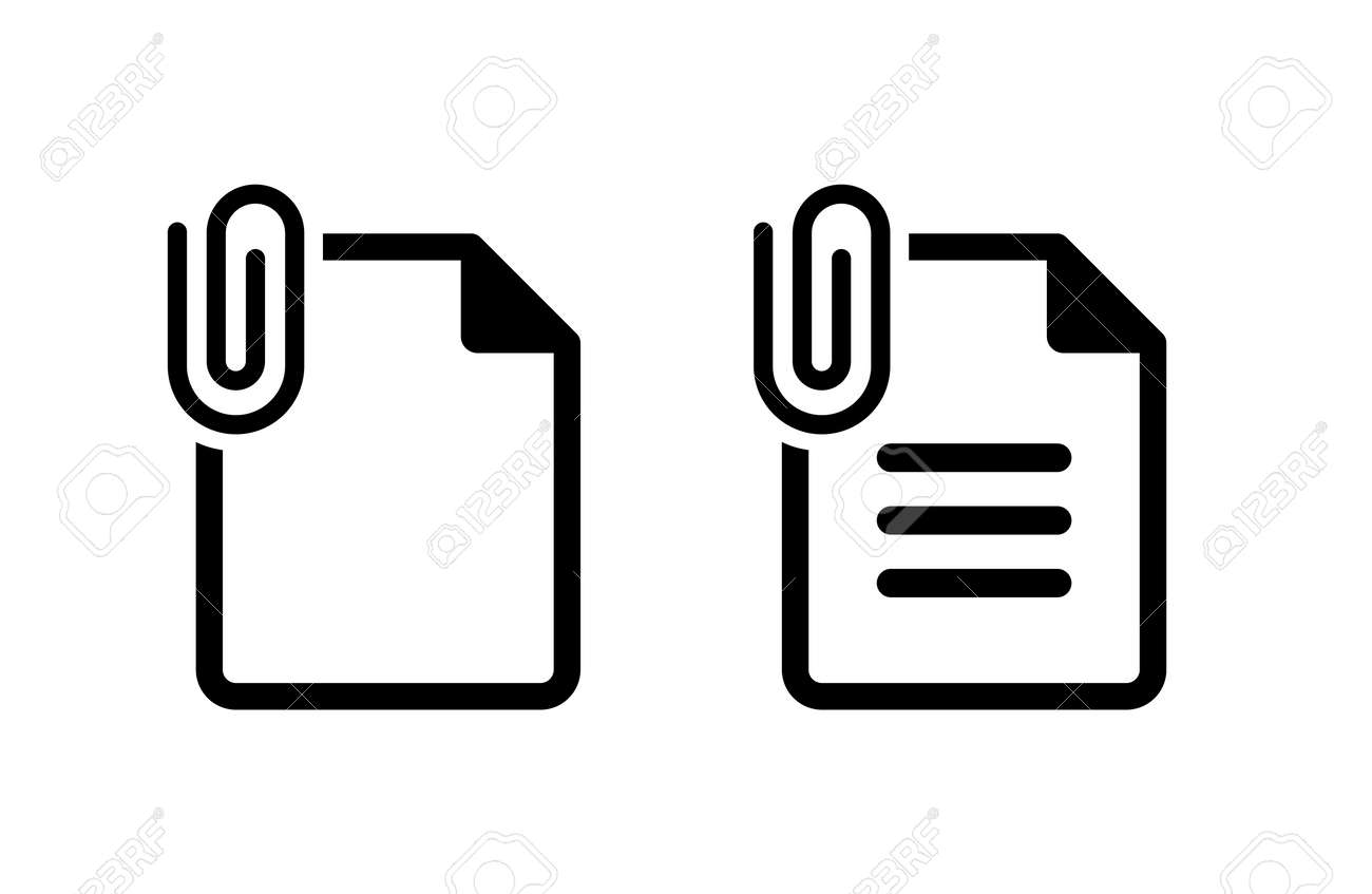 Attached document file icon set - 169388407