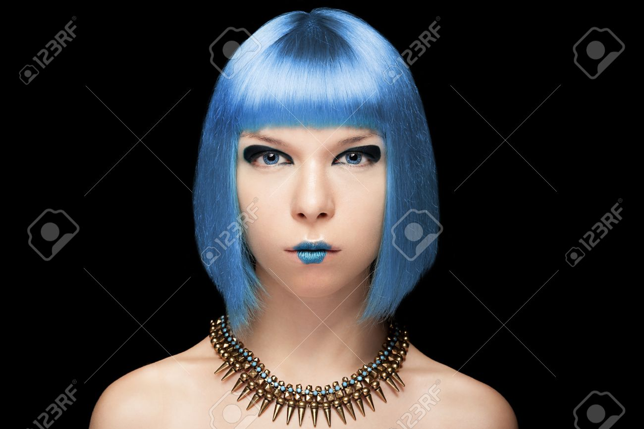 Anime Girl With Blue Hair Isolated On Black Background Manga Hairstyle And