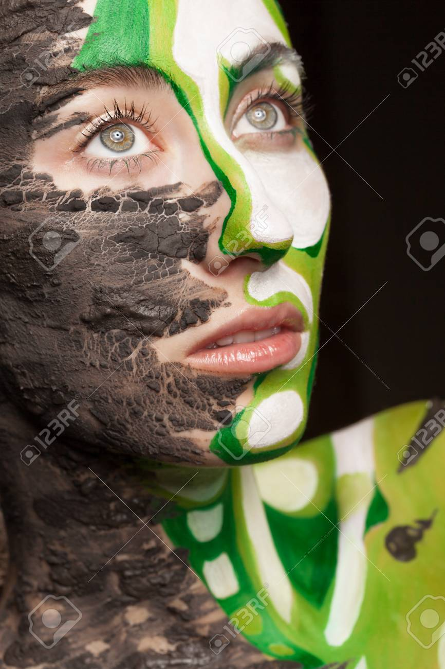 Woman With Fashion On Stage Make Up Made Of Clay And Body Art Stock Photo Picture And Royalty Free Image Image 54193049