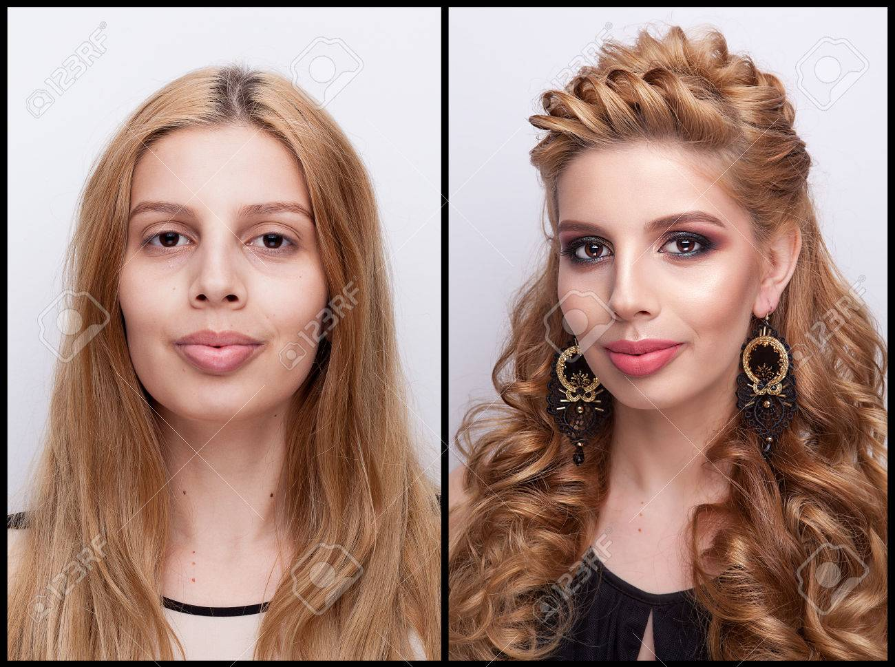 Woman Before And After Makeup And Hairstyle In Studio Photo Stock
