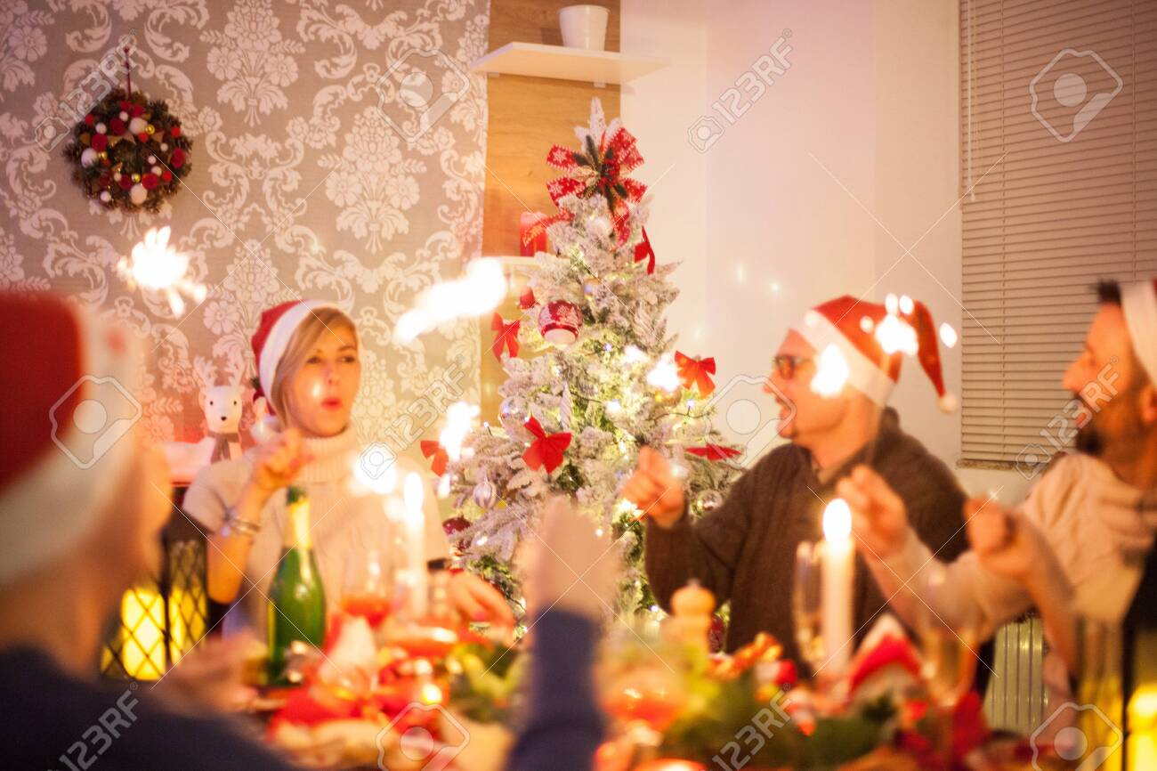 Large Cheerful Family Celebration Christmas With Traditional Stock Photo Picture And Royalty Free Image Image 132604246