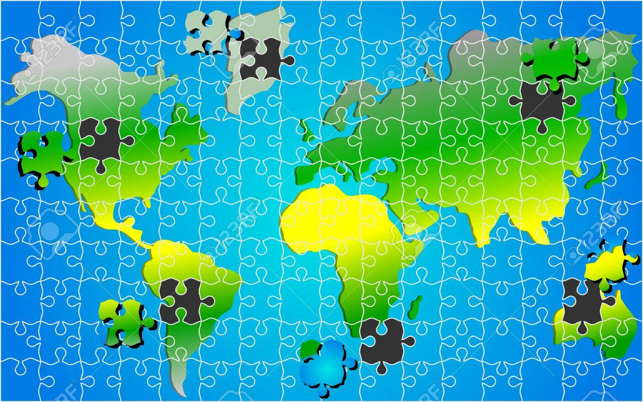 Global World Map Puzzle Jigsaw Background Vector Royalty Free