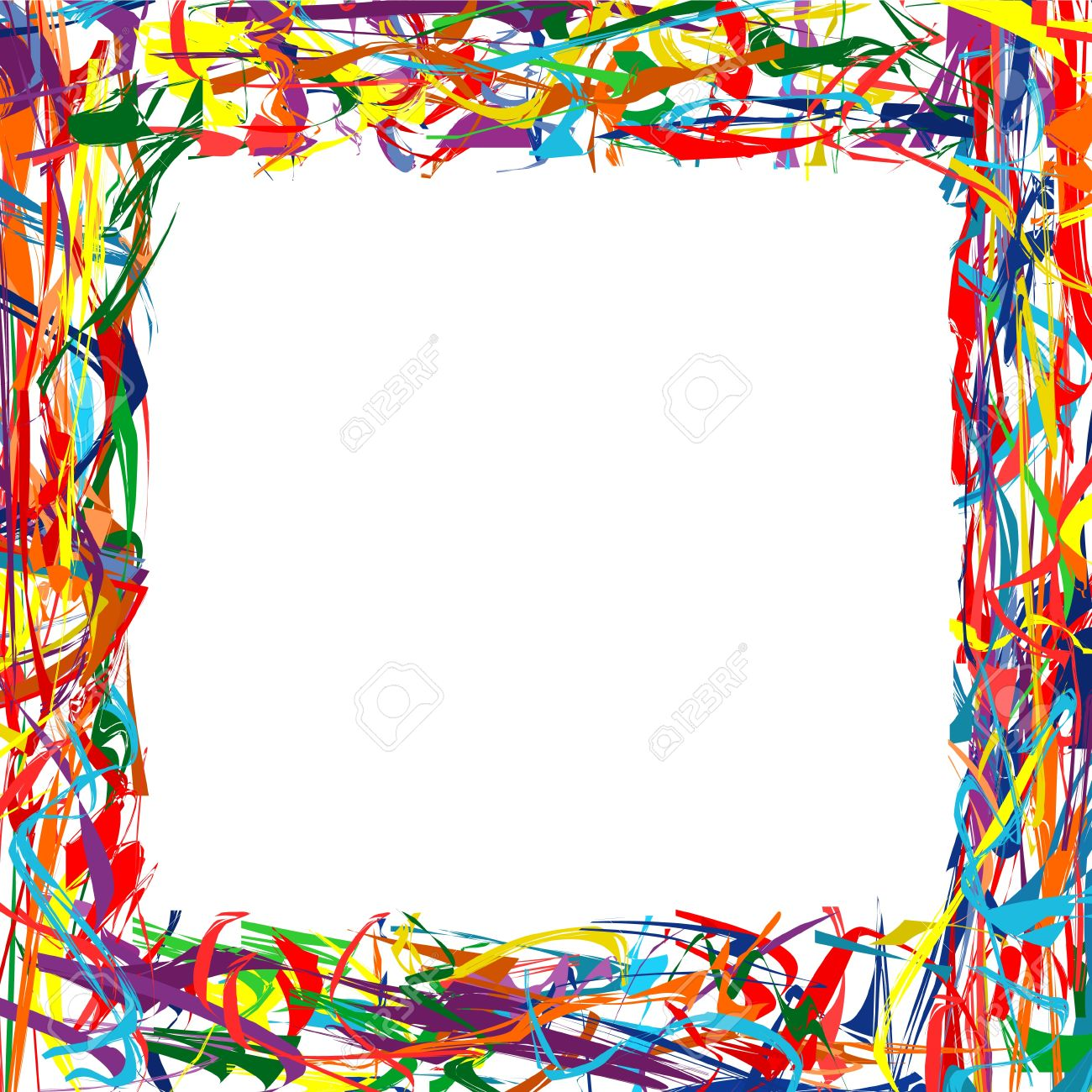 Abstract Rainbow Curved Lines Frame Colorful Background Royalty Free ...
