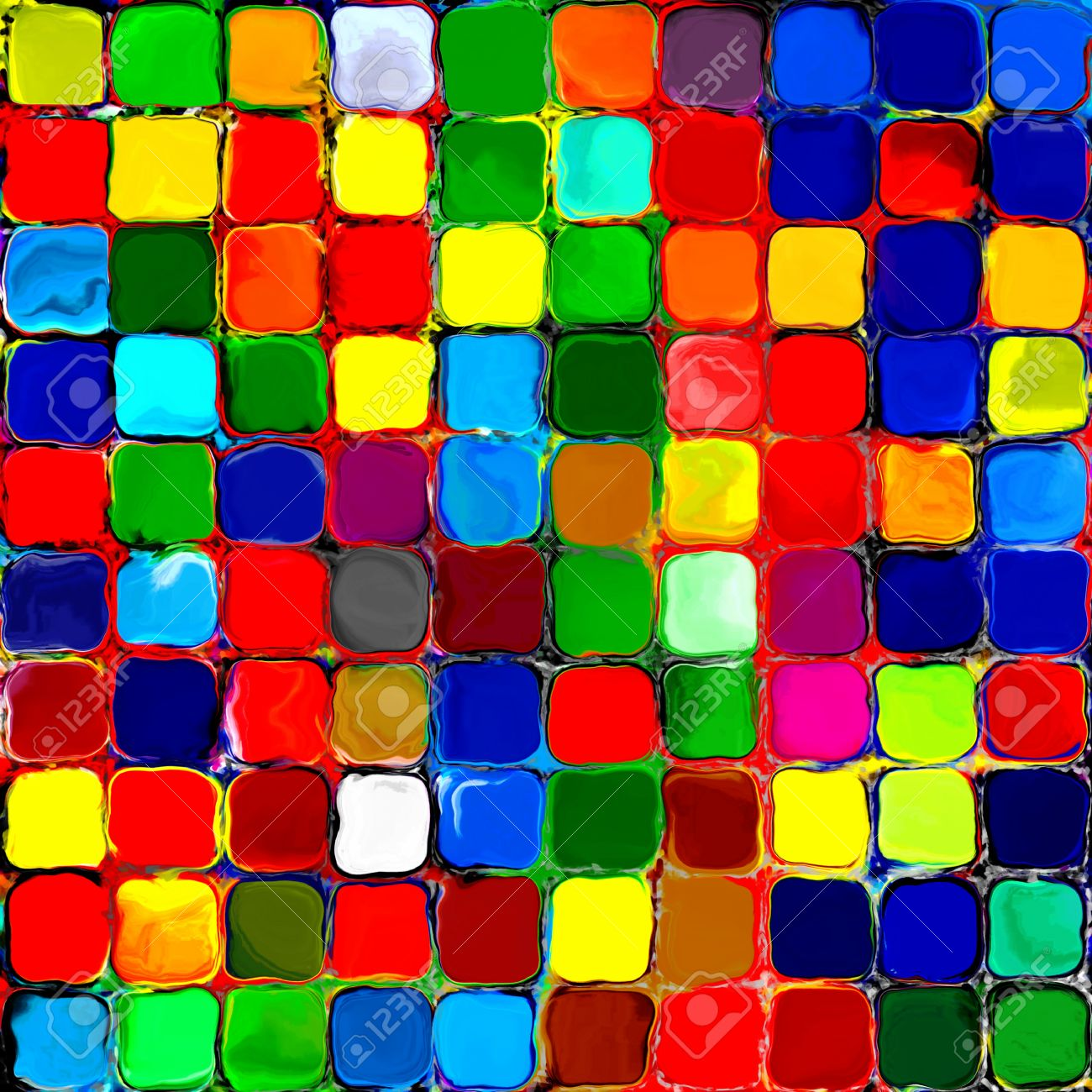 Abstract Rainbow Colorful Tiles Mozaic Painting Geometric Pallette ...