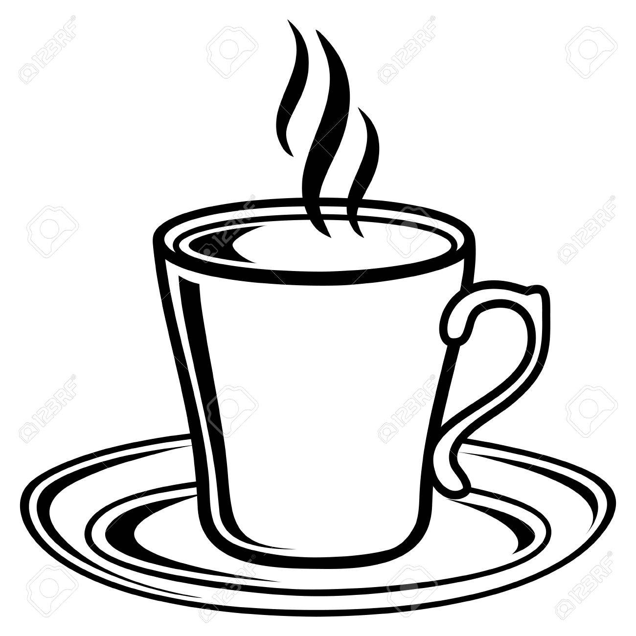 Black And White Coffee Tea Cup Icon Royalty Free Cliparts, Vectors ...