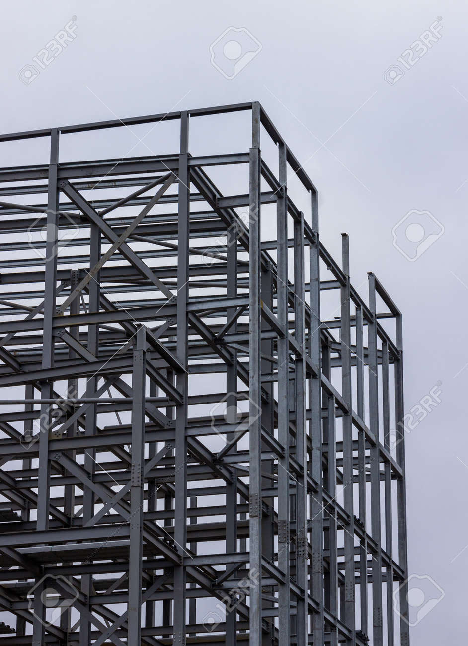 Metal frame of a builing in Glasgow, Scotland - 165355662