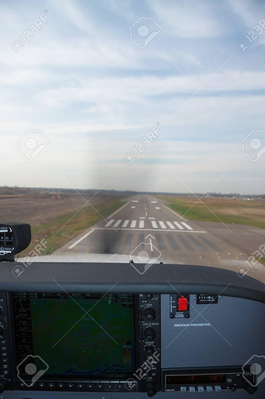 Kiev, Ukraine - November 12, 2010: View from the Cessna 172 Skyhawk
