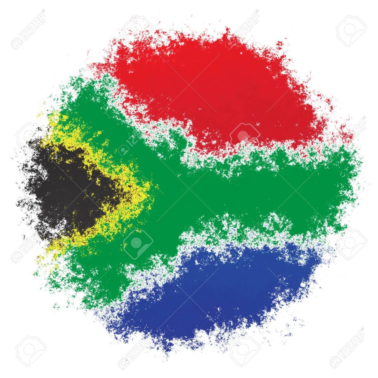 Couleur De L Afrique.Drapeau Stylise De Pulverisation De Couleur De L Afrique Du Sud Sur Fond Blanc