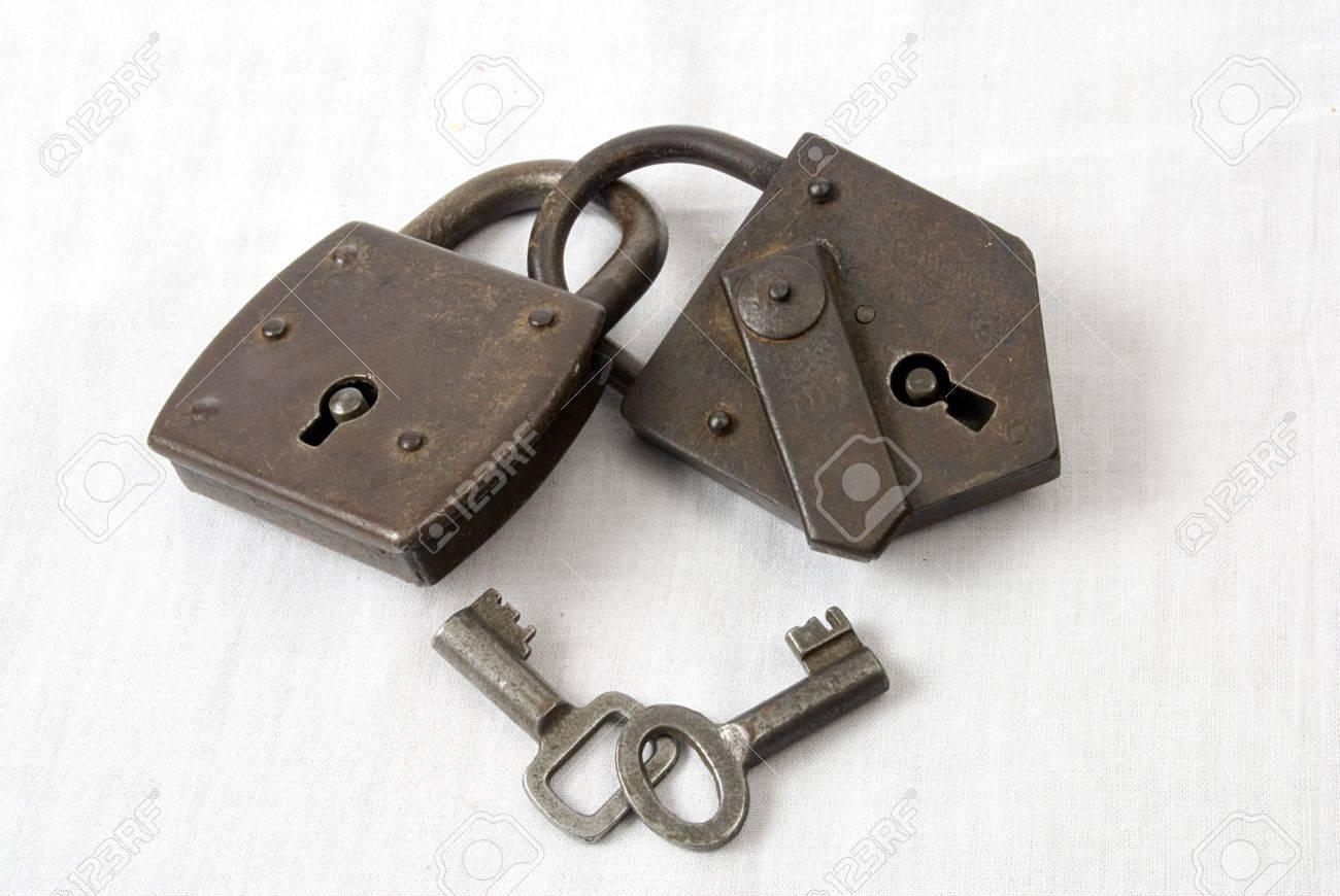 Two antique padlocks with keys Stock Photo - 15630907
