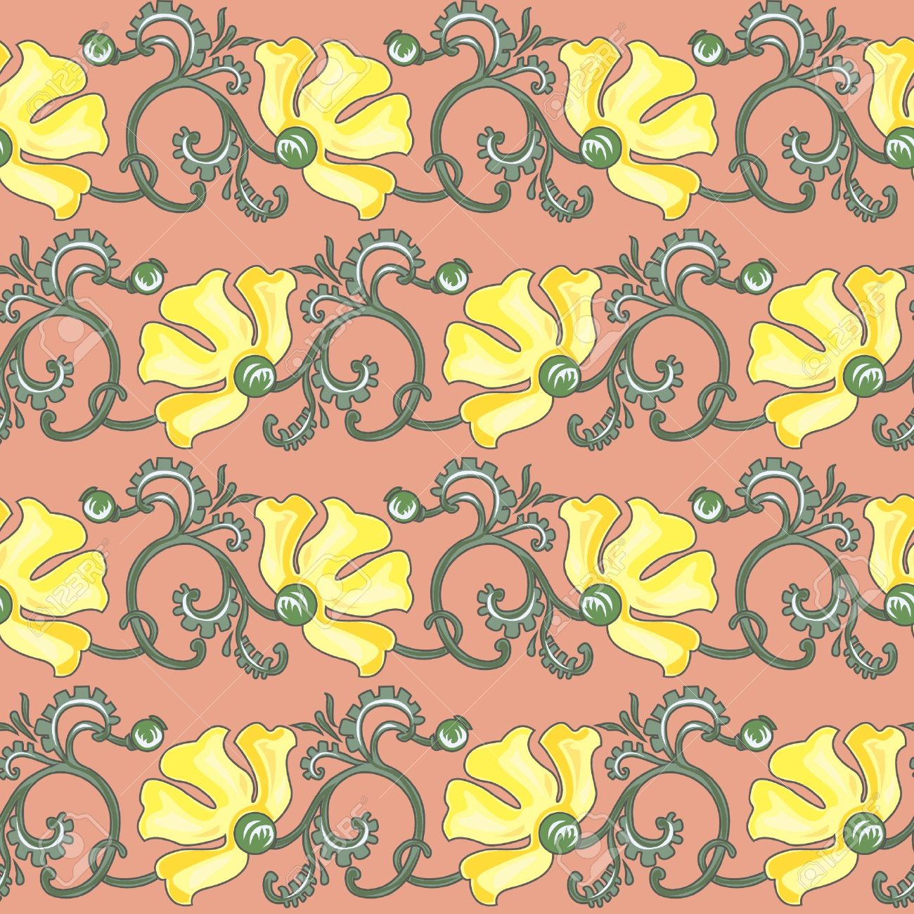 Floral Seamless Texture In Art-nouveau Style, Yellow Poppy Royalty ...