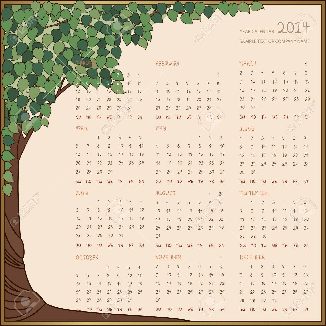 Jahreskalender 2014 Grünen Baum Rahmen Lizenzfrei Nutzbare ...