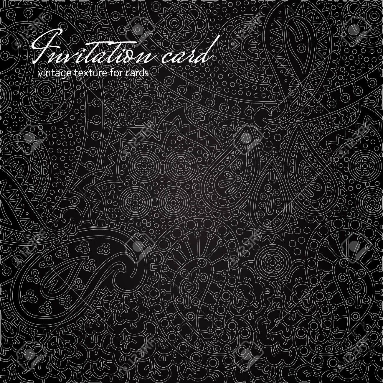 Elegant Black Floral Invitation Card Royalty Free Cliparts – Black Invitation Cards