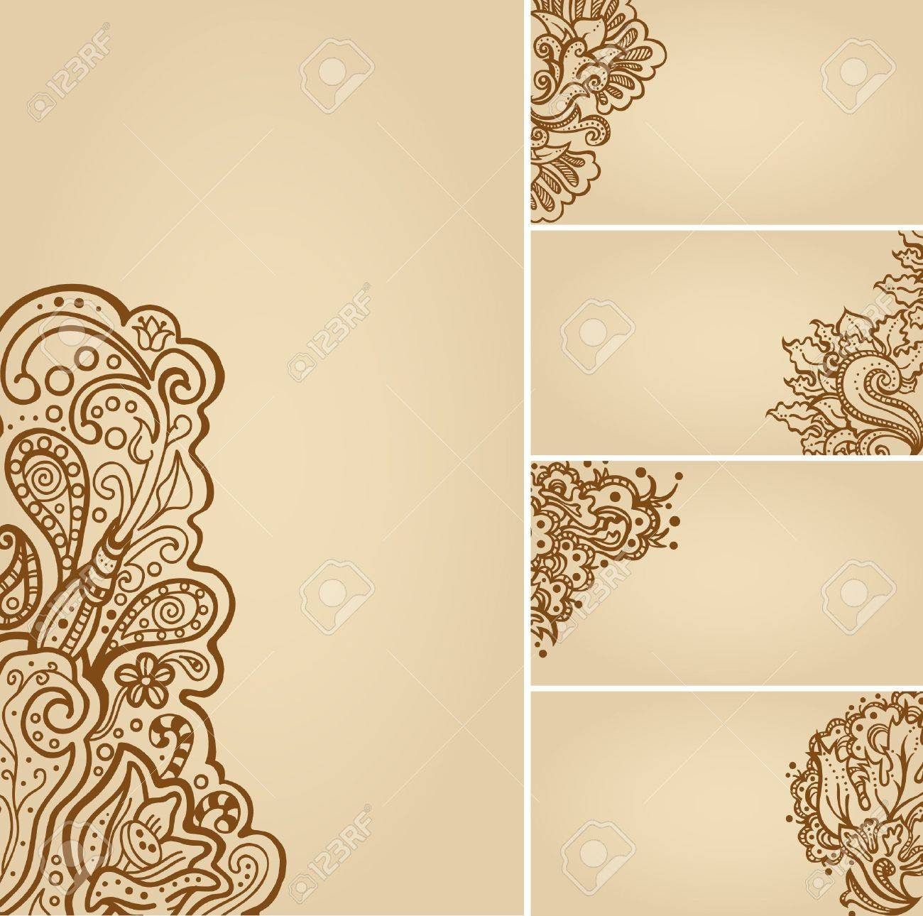 Set Of Henna Tattoo Floral Banners And Business Card Templates - Tattoo business card templates