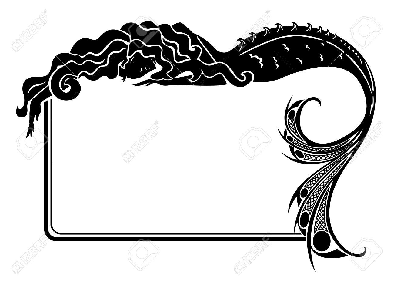 Art-nouveau Mermaid Silhouette Frame Royalty Free Cliparts, Vectors ...