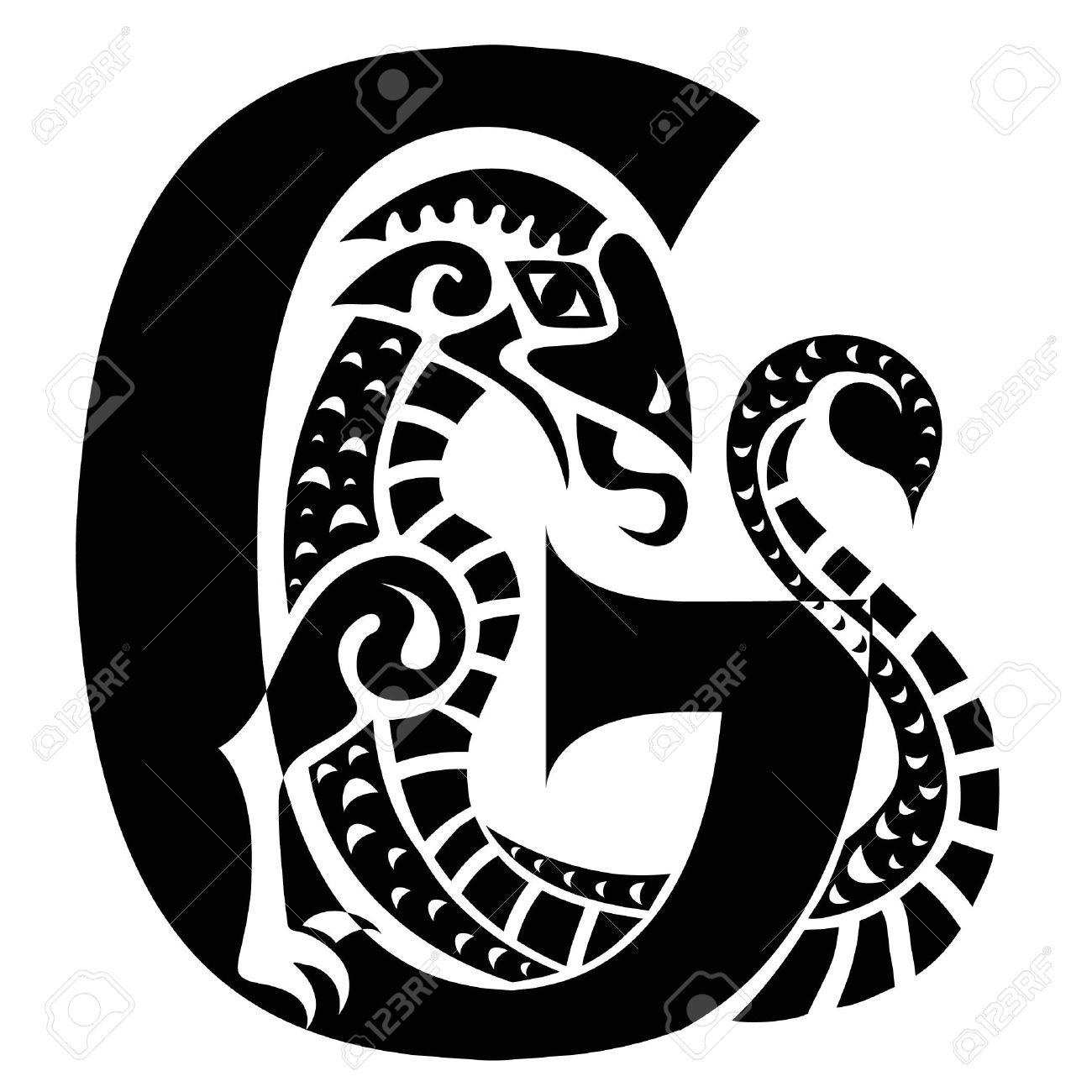 gargoyle capital letter G Stock Vector - 19759124