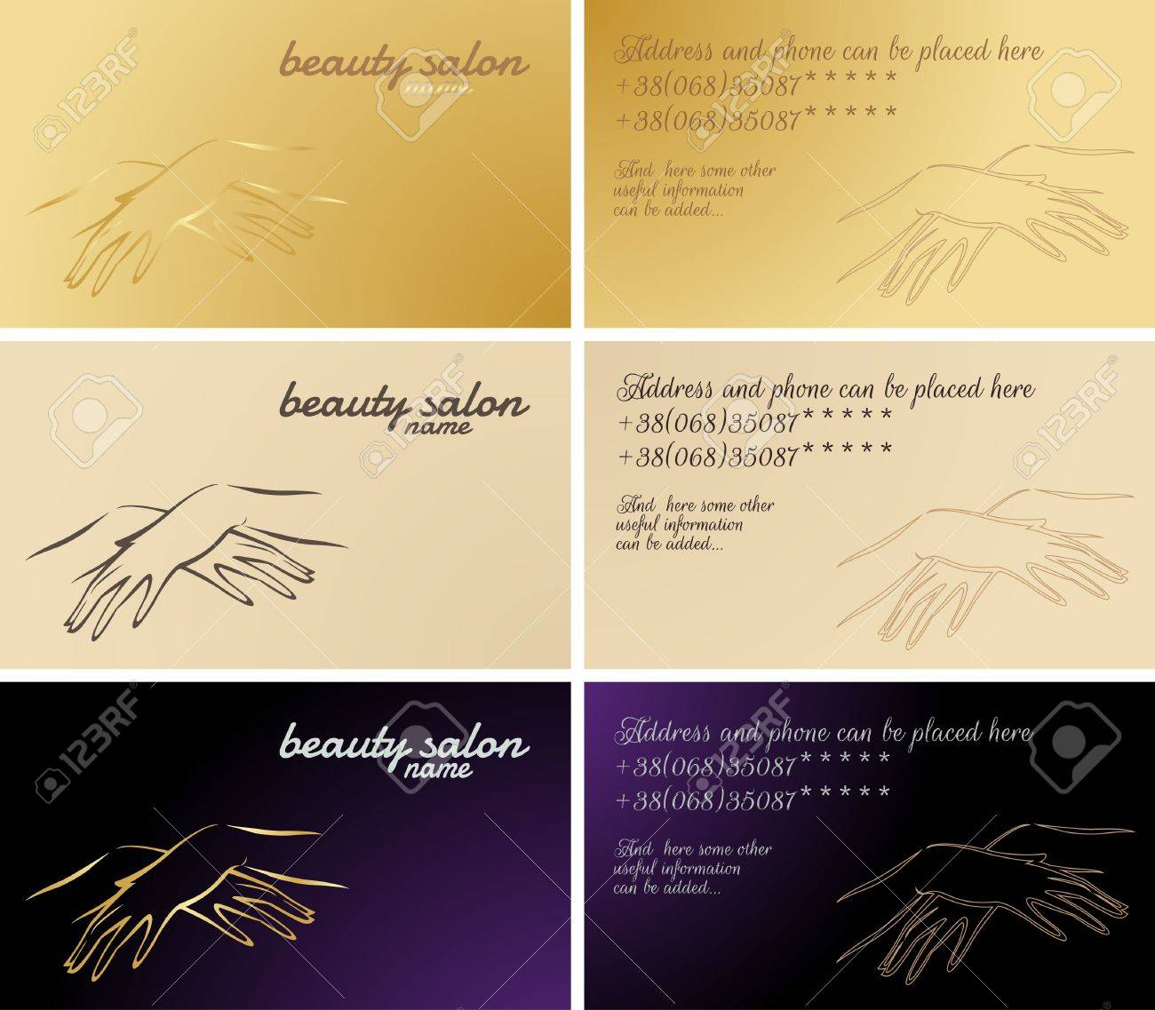 Set Of Business Cards, Cosmetic And Manicure Services Royalty Free ...