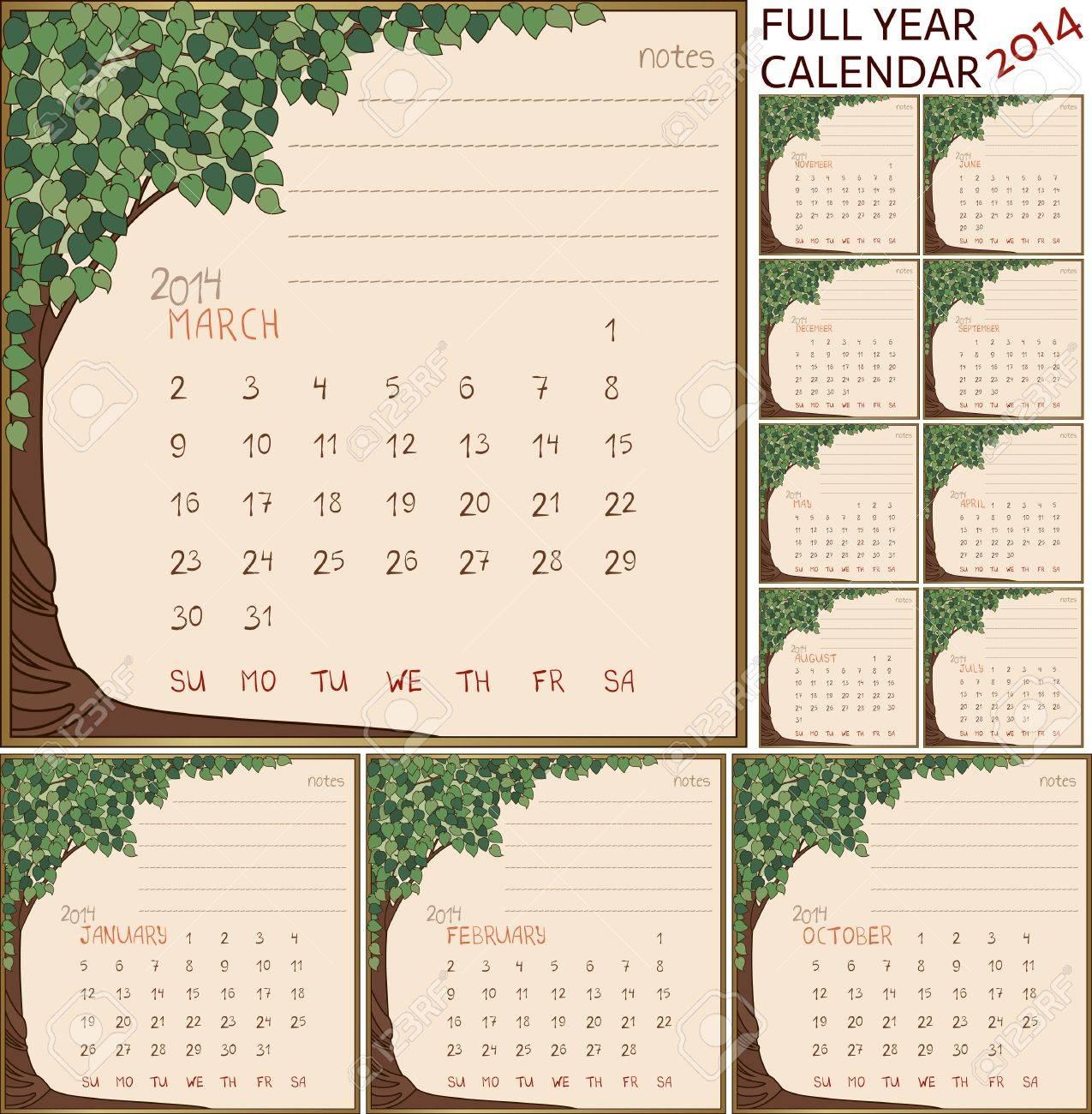 2014 Jahre Kalender, Monate Im Grünen Baum Rahmen Lizenzfrei ...