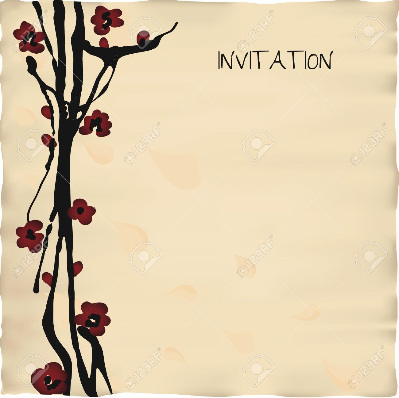 Japanese Or Chinese Style Invitation Card Template Royalty Free ...