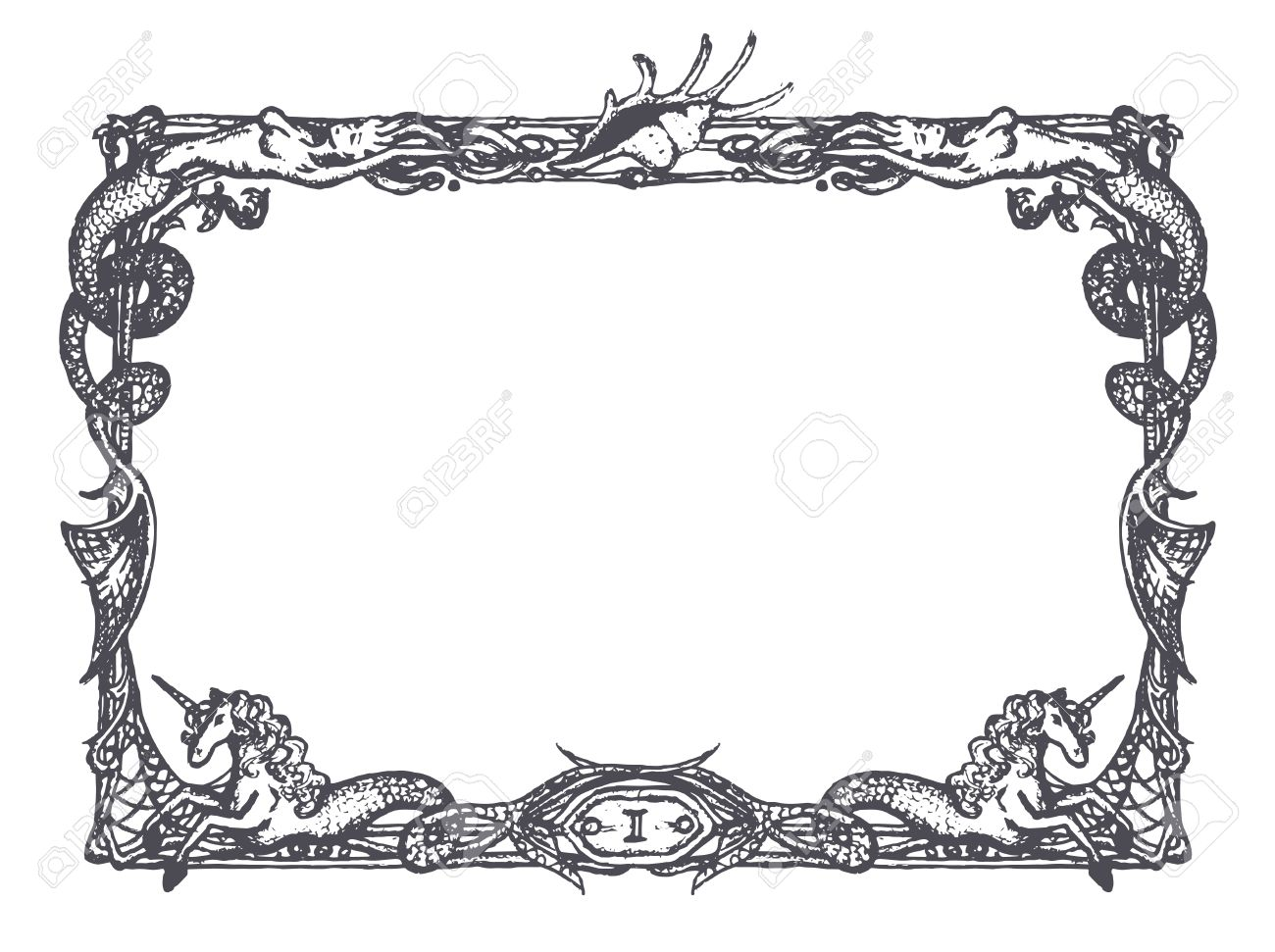 Vintage Frame With Mermaids And Sea Horses Royalty Free Cliparts ...