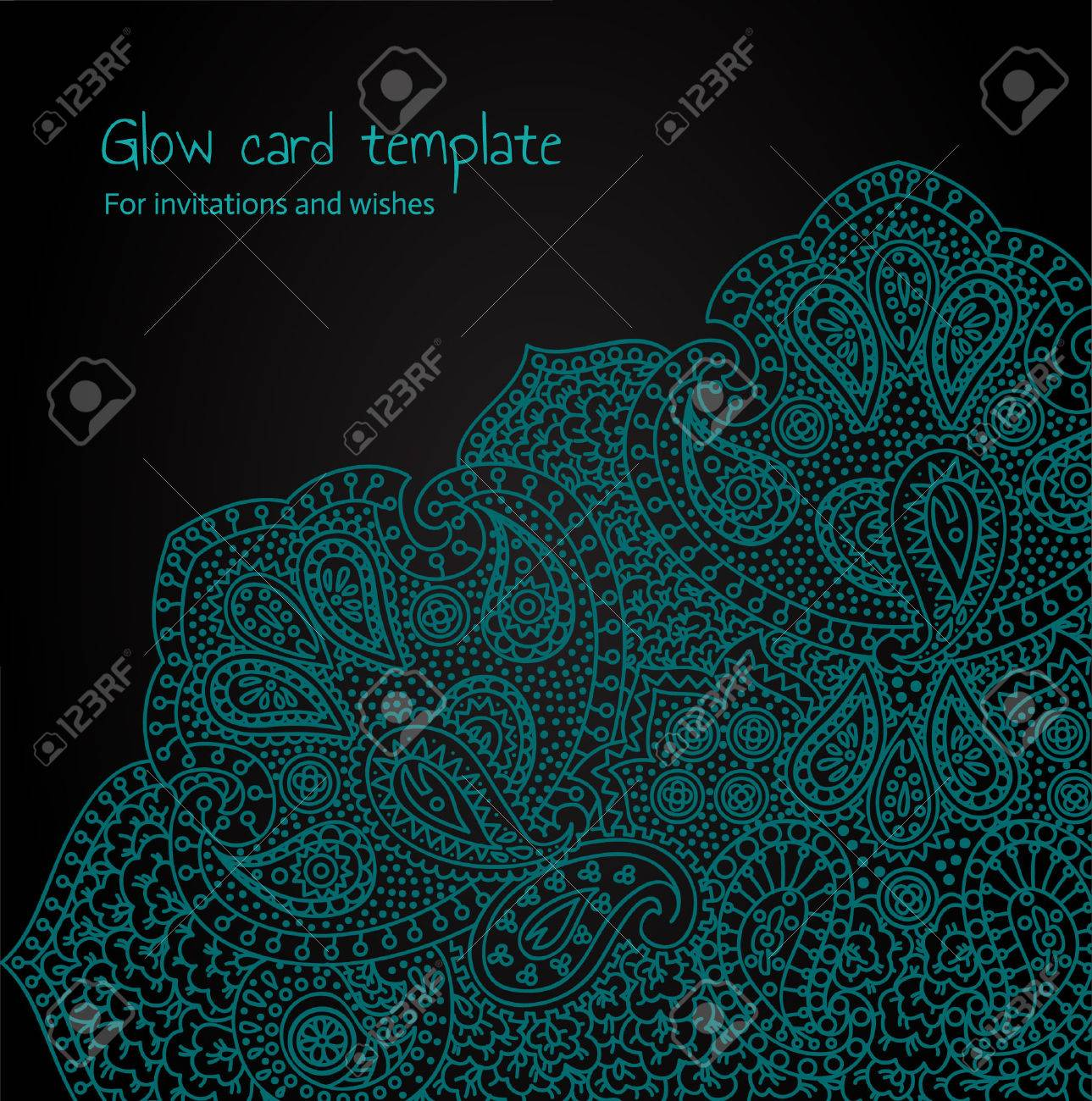 Glow psychedelic card Stock Vector - 23521590