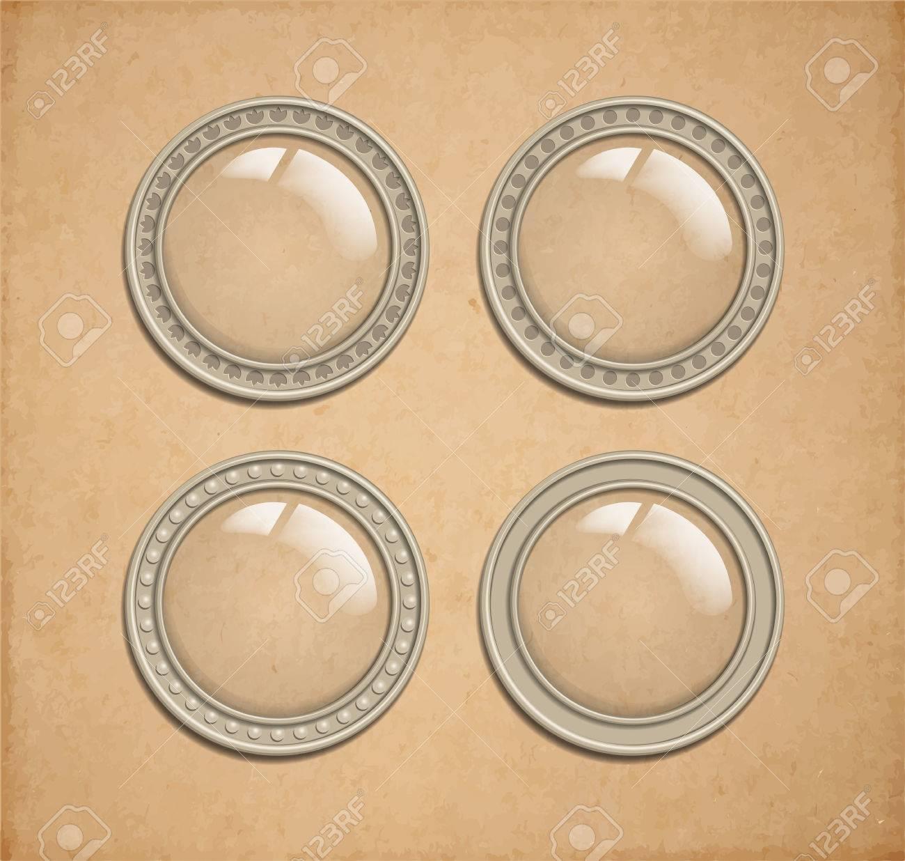 Conjunto De Vidrio Vector Botón Transparente En Estructura Metálica Iluminador Redonda Como Elemento Icono Para Web Interfaz De Juego Y Decoración