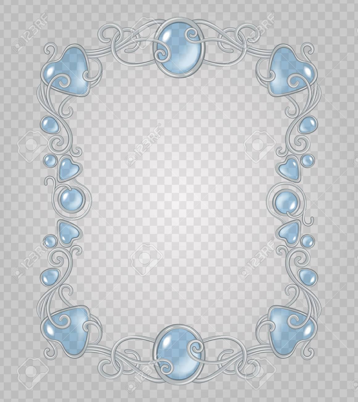 Vector De Cristal Transparente Y Gemas Estructura Metálica Decorativa Sobre Fondo Gris Demostrativa Rejilla Transparente Plata Viñeta De Luz