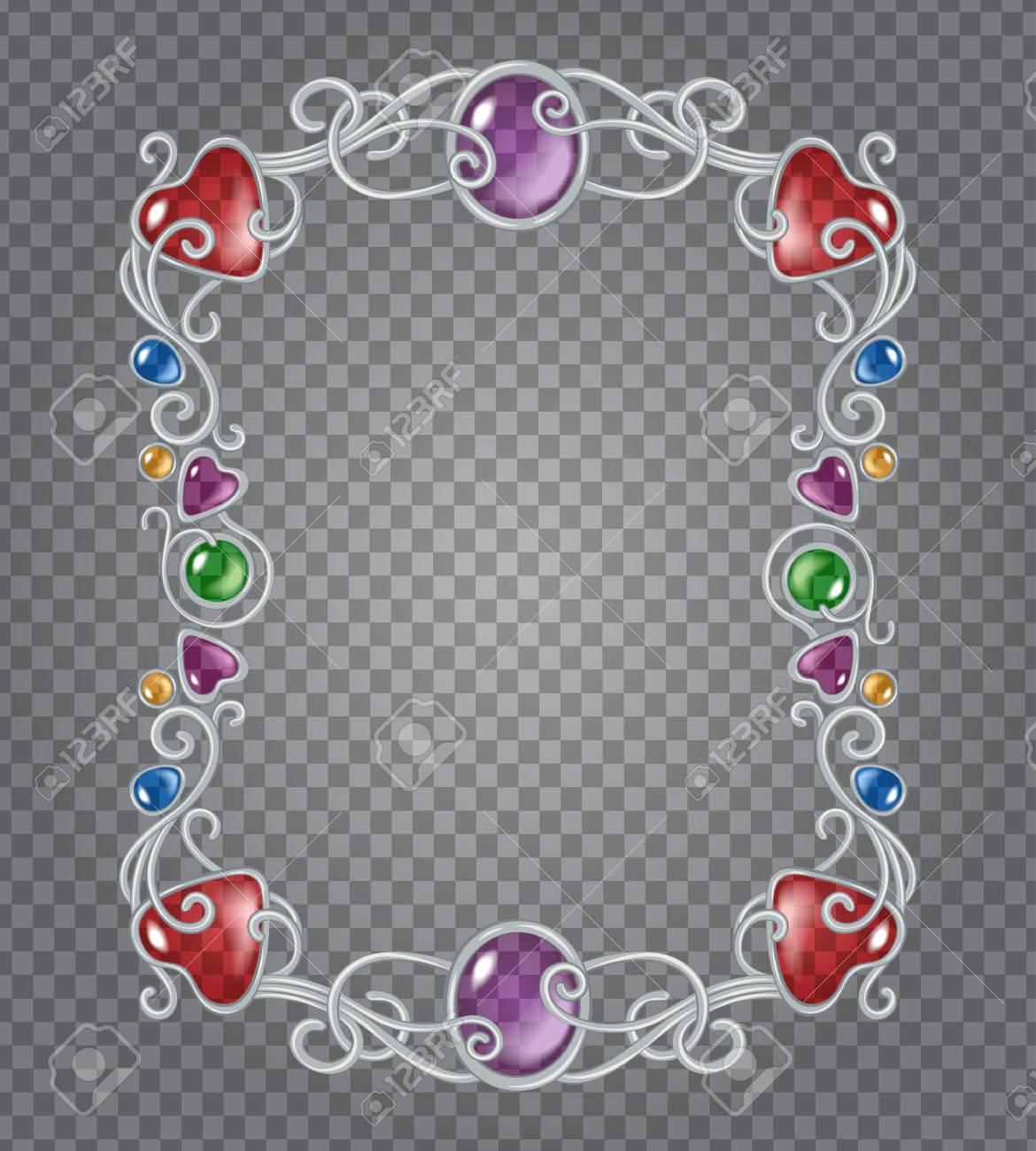 Vector De Cristal Transparente Y Gemas Estructura Metálica Decorativa Sobre Fondo Gris Rejilla Demostrativa Plata Viñeta Fantasía Vertical Con