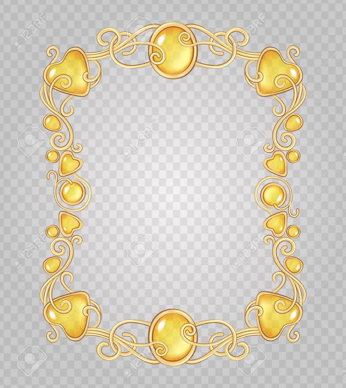 Vector De Cristal Transparente Y Gemas Estructura Metálica Decorativa Sobre Fondo Gris Demostrativa Rejilla Transparente Oro Viñeta Fantasía