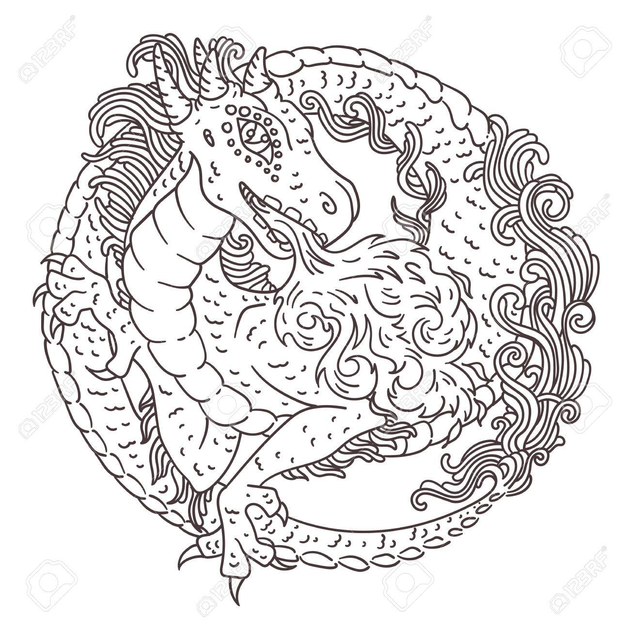 Vector illustration of chinese, european or japanese dragon with