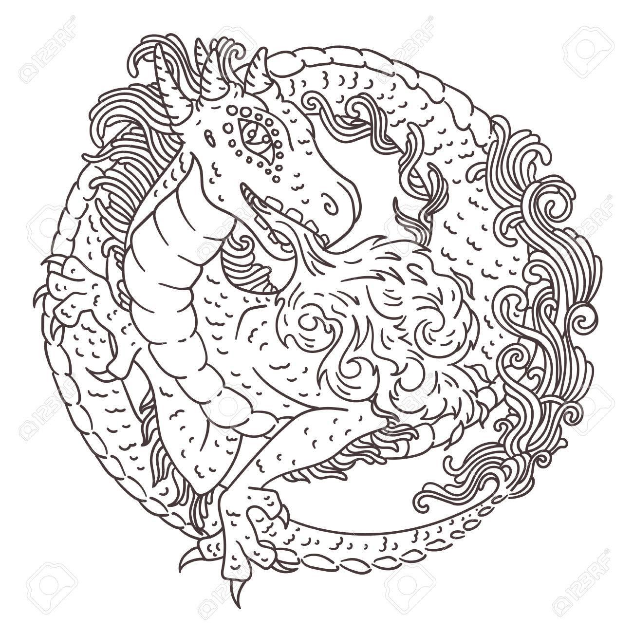 Vektor-Illustration Der Chinesischen, Europäischen Oder Japanischen ...