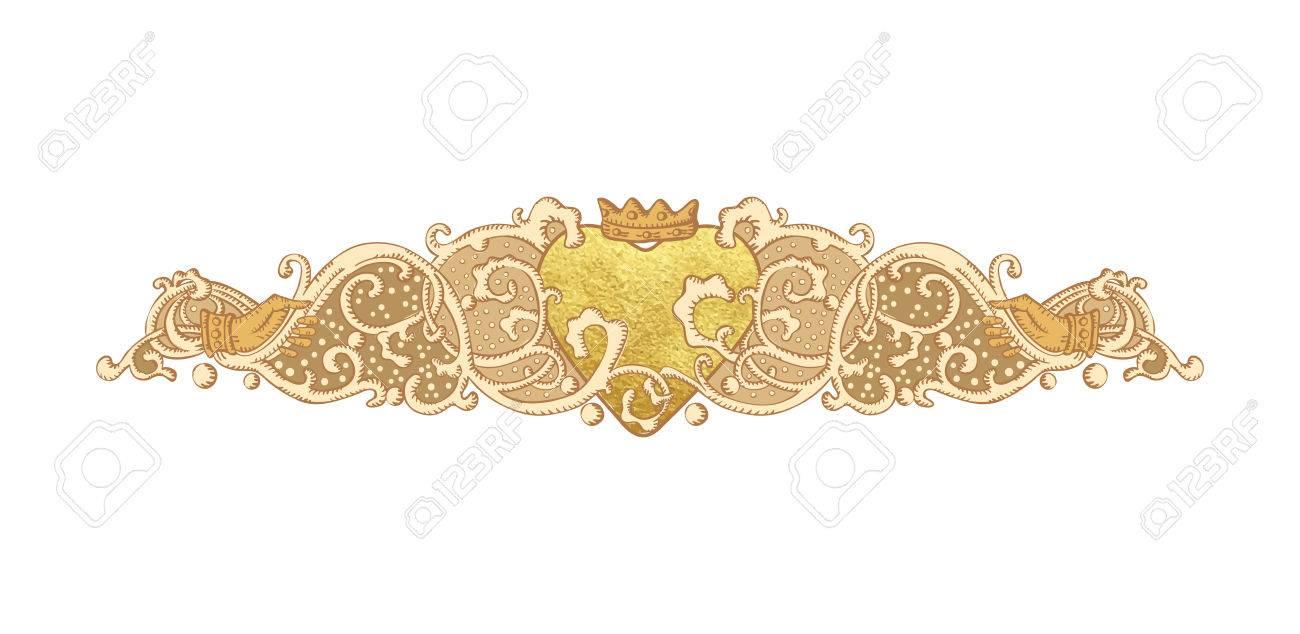 Ornamento De La Boda Vector De La Vendimia Corazón De Oro Pintura Metalizada Y Cluddah Manos Irlandés