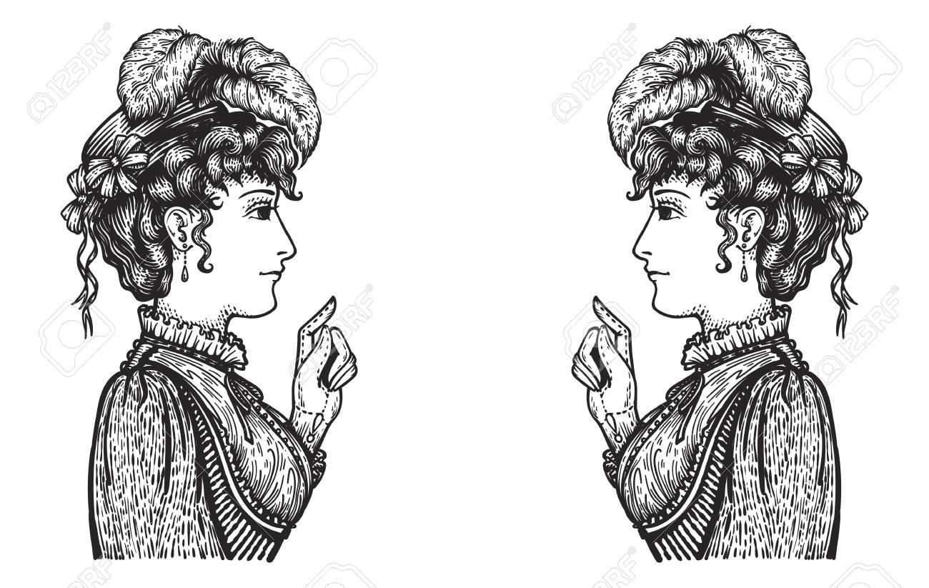 ベクトルの会話で Oppisite 意見を持っている 2 つのビンテージ刻まれた