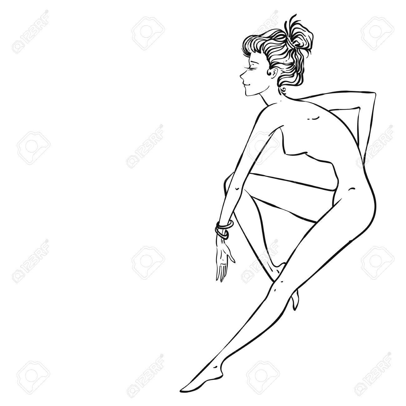 Vektor Sexy Schöne Pin-up-Mädchen Sitzen Oder Tanzen, Passende ...