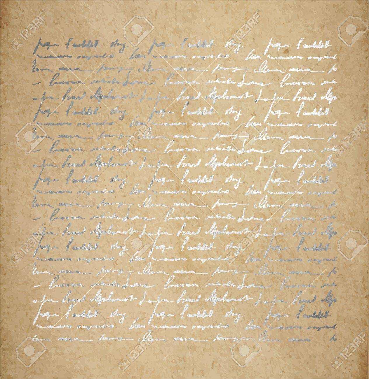 Vintage Old Paper Texture With Silver Ink Handwriting Letter