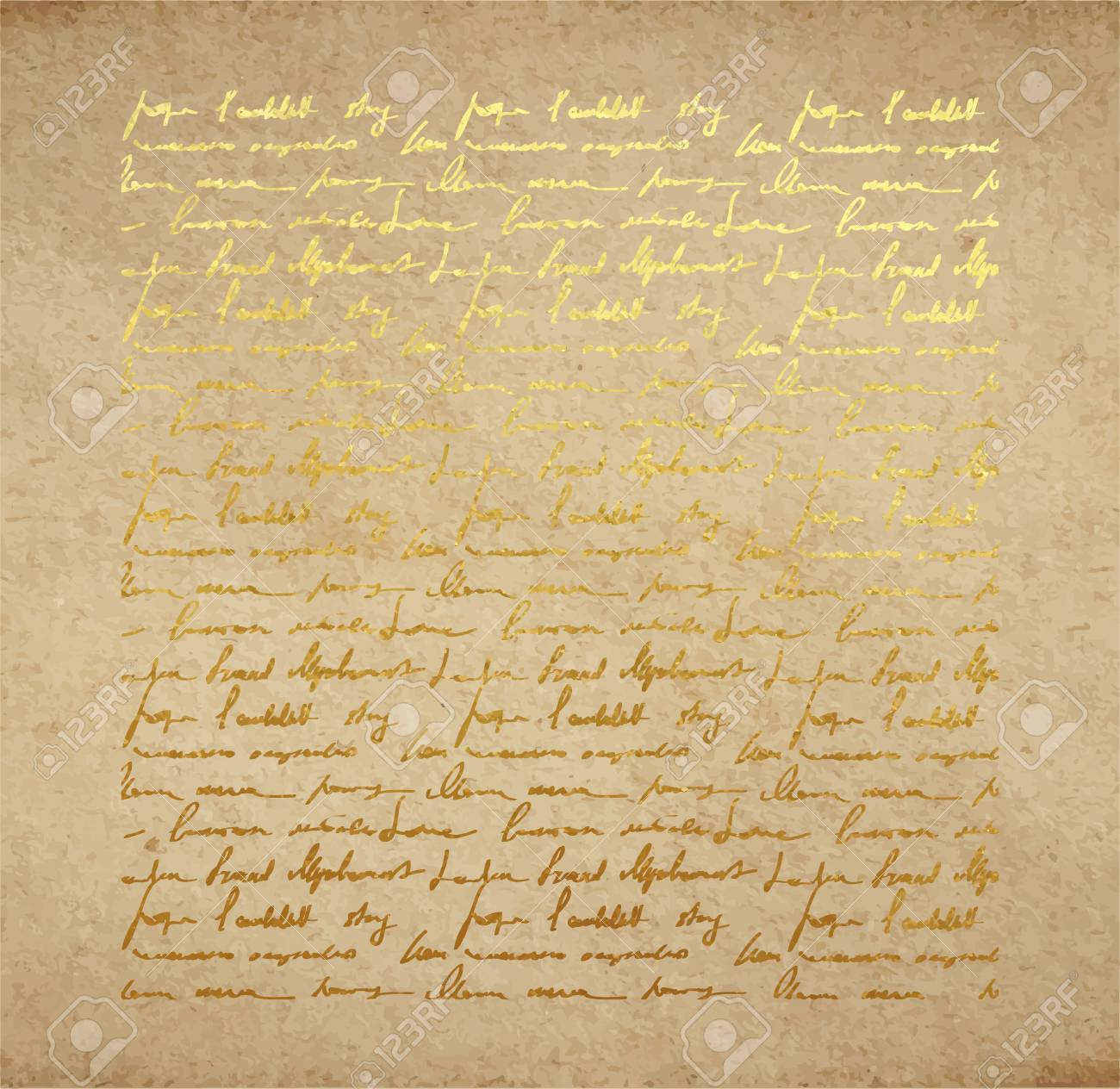 Vintage Old Paper Texture With Golden Ink Handwriting Letter