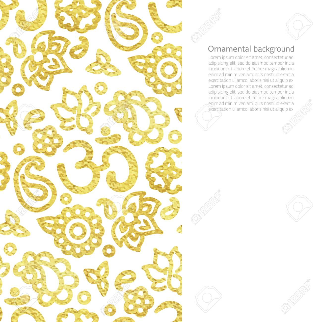 Vector Card With Realistic Golden Foil Border With Om Symbol