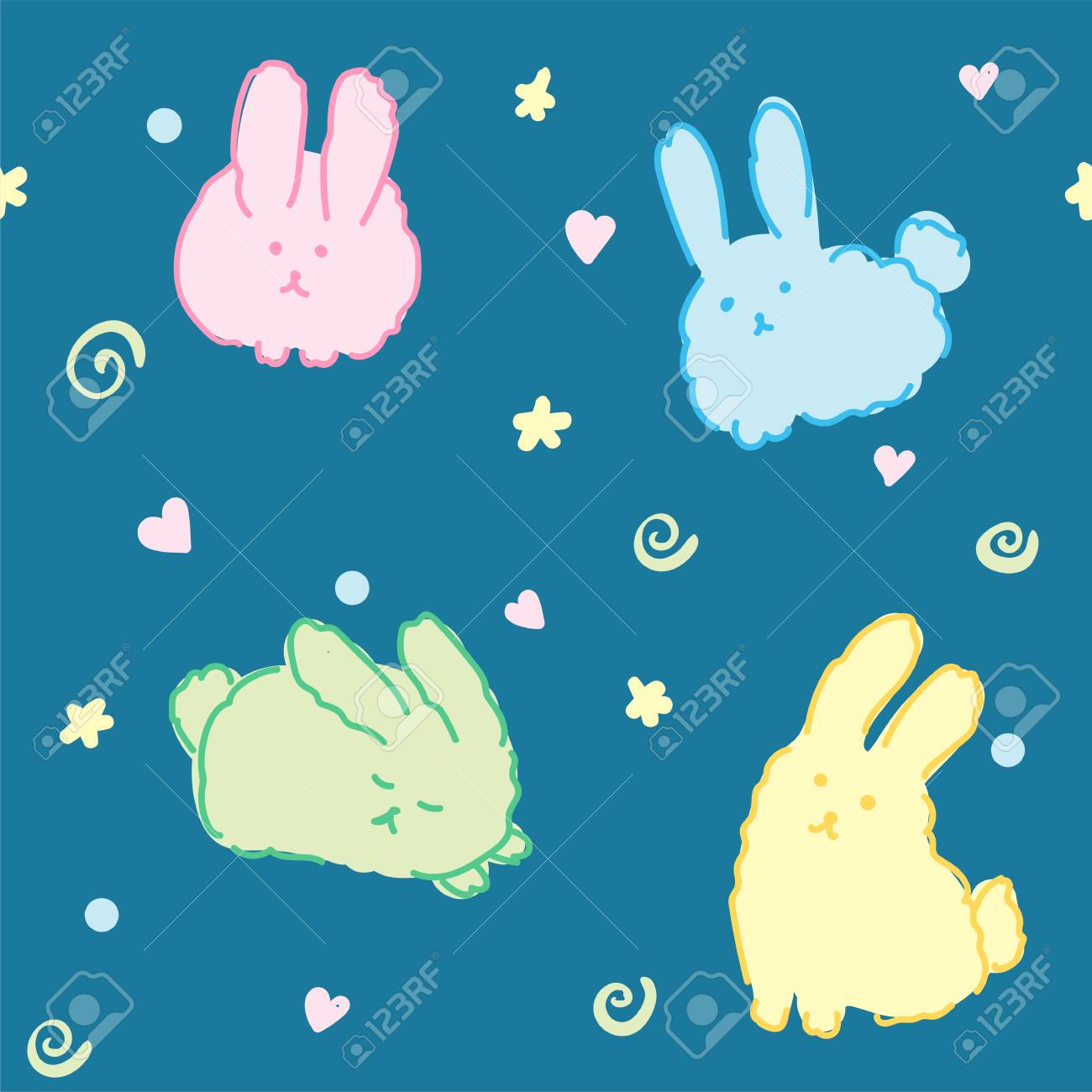 Fluffy Bunnies Wallpaper Seamless Pattern Cute Rabbits Kawaii