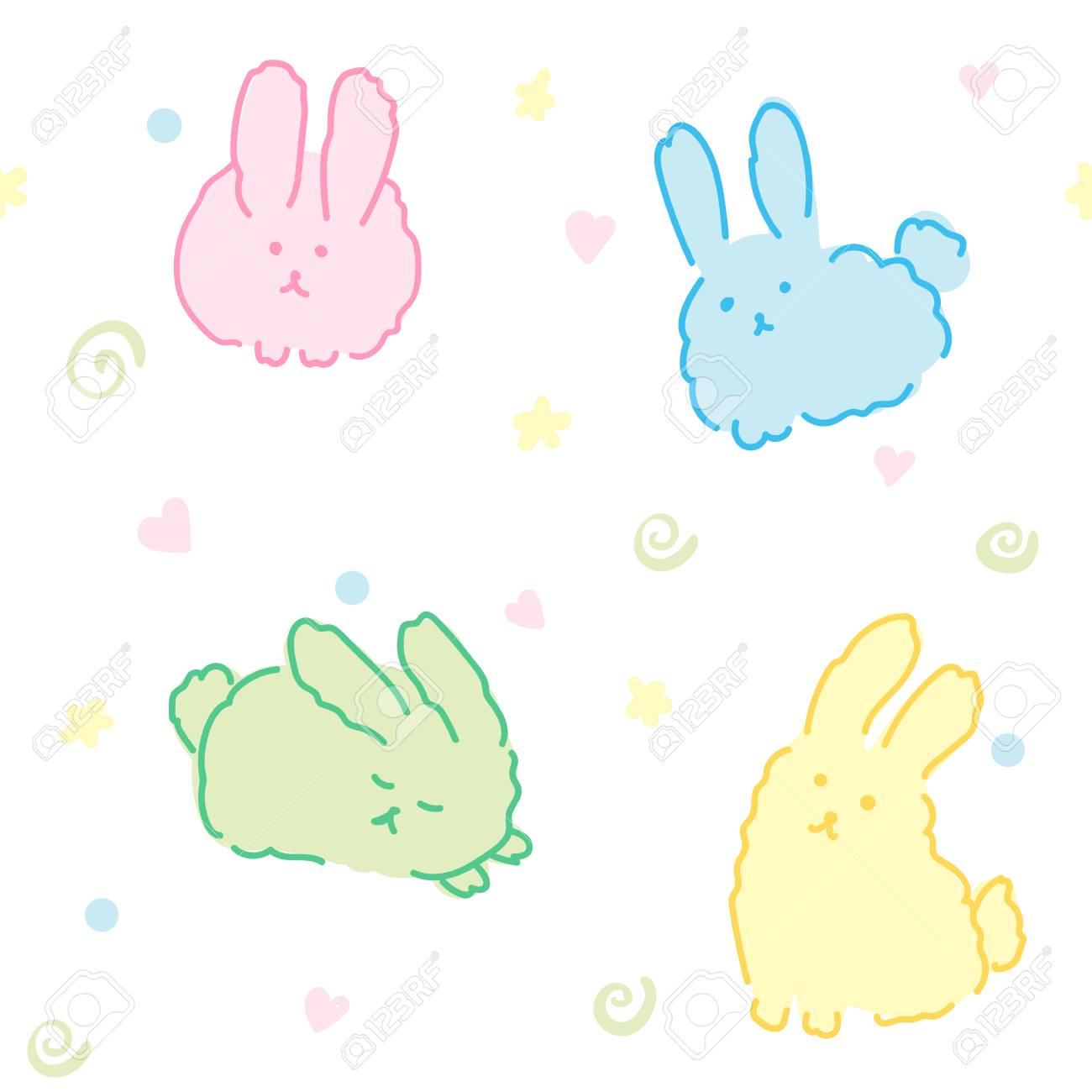 Fluffy Bunnies Wallpaper Seamless Pattern Cute Rabbits Kawaii Animals In White