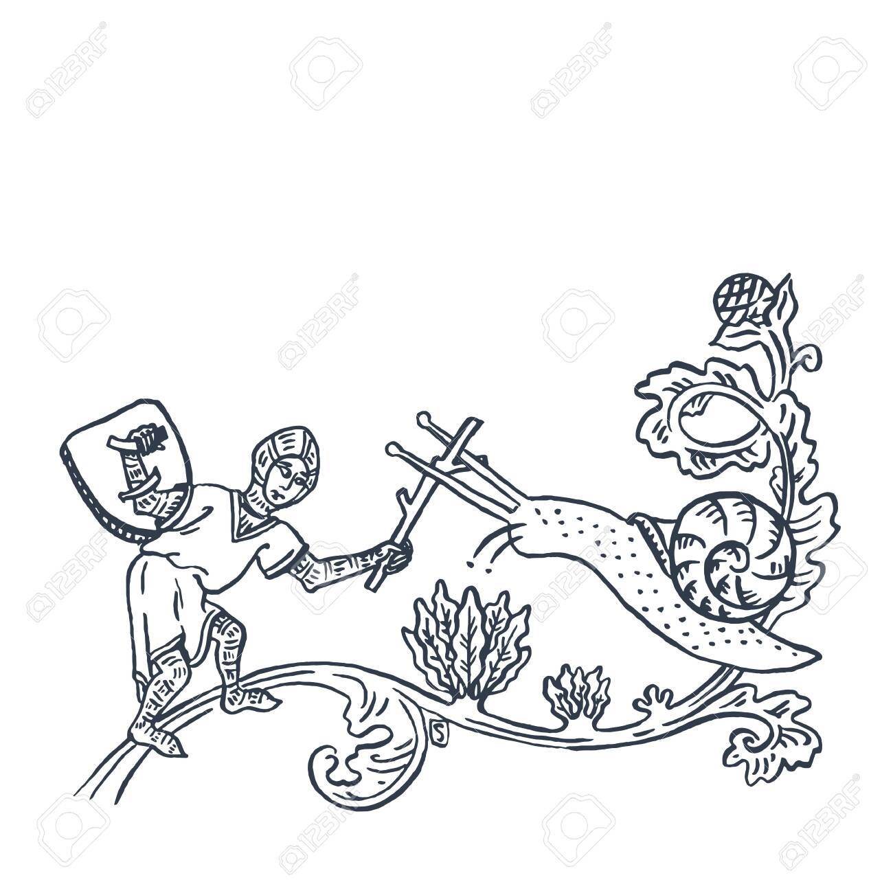 Knight Fighting Snail Medieval Ages Style Art As Hand Drawn Ink Royalty Free Cliparts Vectors And Stock Illustration Image 122579143