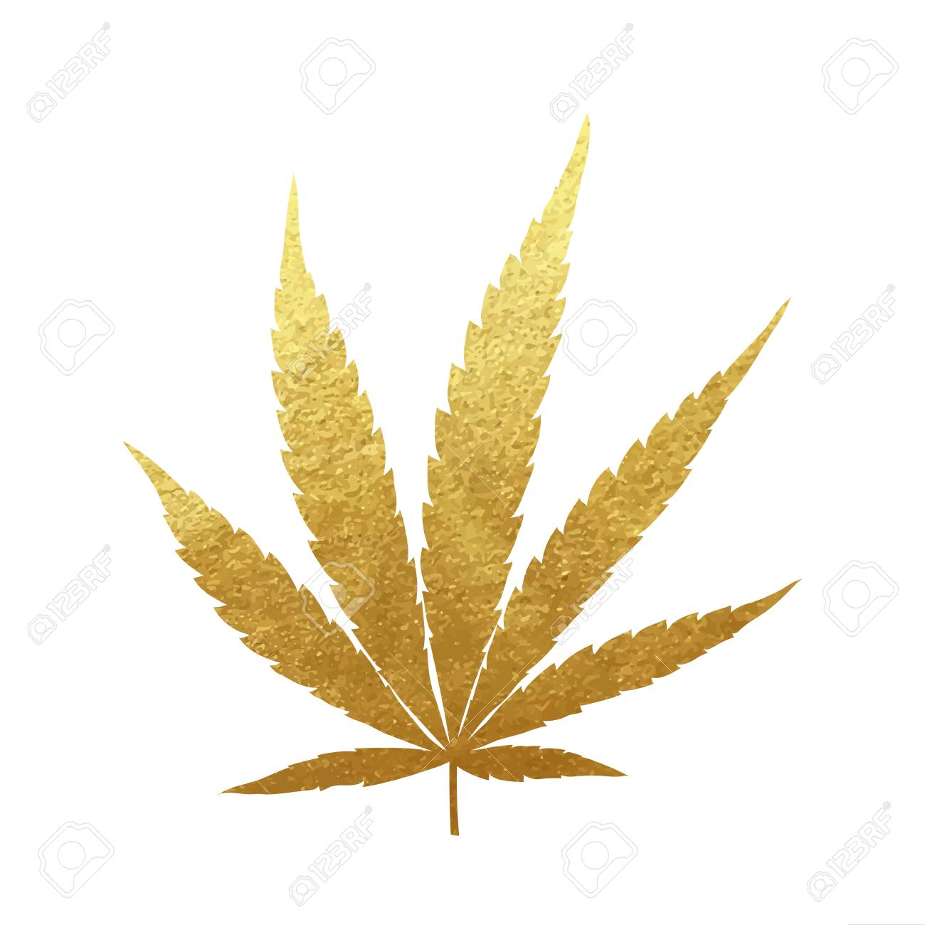 Gold Cannabis Leaf Vector Metallic Golden Paint Foil Silhuette Royalty Free Cliparts Vectors And Stock Illustration Image 122579398