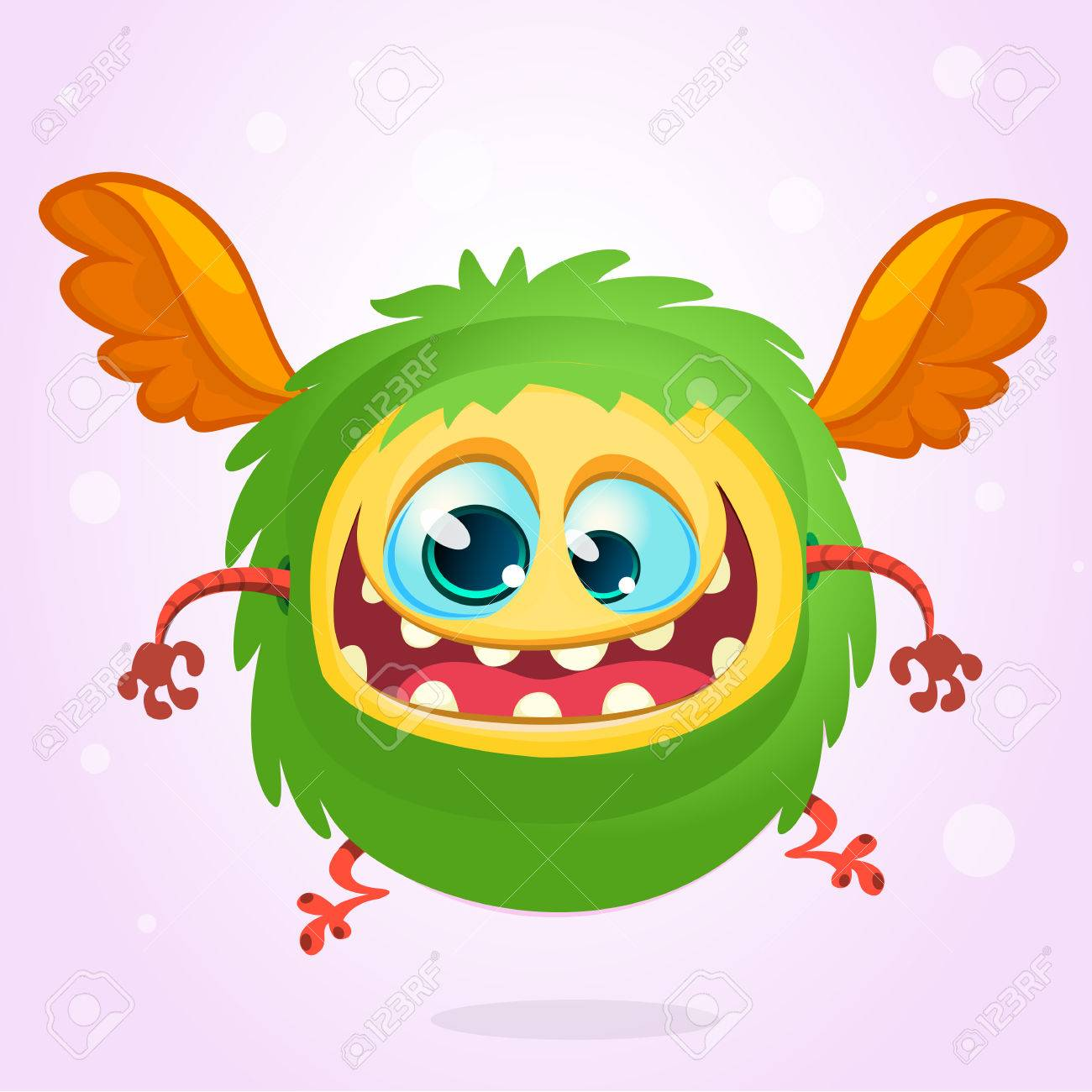 Cute Cartoon Flying Monster Halloween Vector Fluffy Green Monster Royalty Free Cliparts Vectors And Stock Illustration Image 61770183