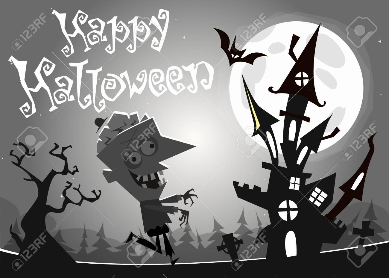 Halloween Hanté Maison Sur Fond De Nuit Avec Un Zombie Mort Marche Illustration Vectorielle Noir Et Blanc