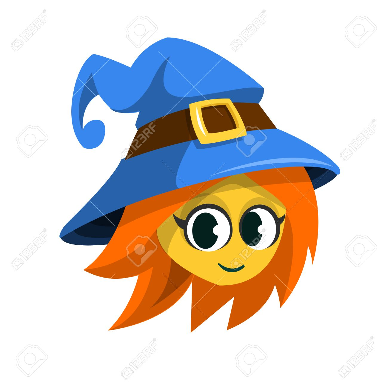 Halloween Cartoon Witch Face.Cartoon Witch Face Vector Clip Art Illustration Of Halloween