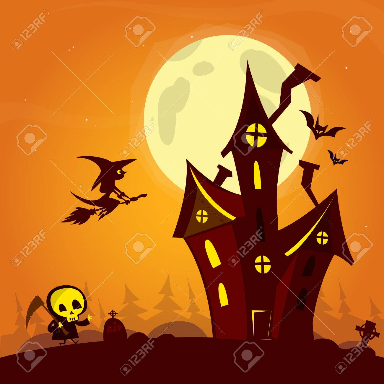 spooky old ghost house with fool moon and flying witch halloween cardposter vector illustration