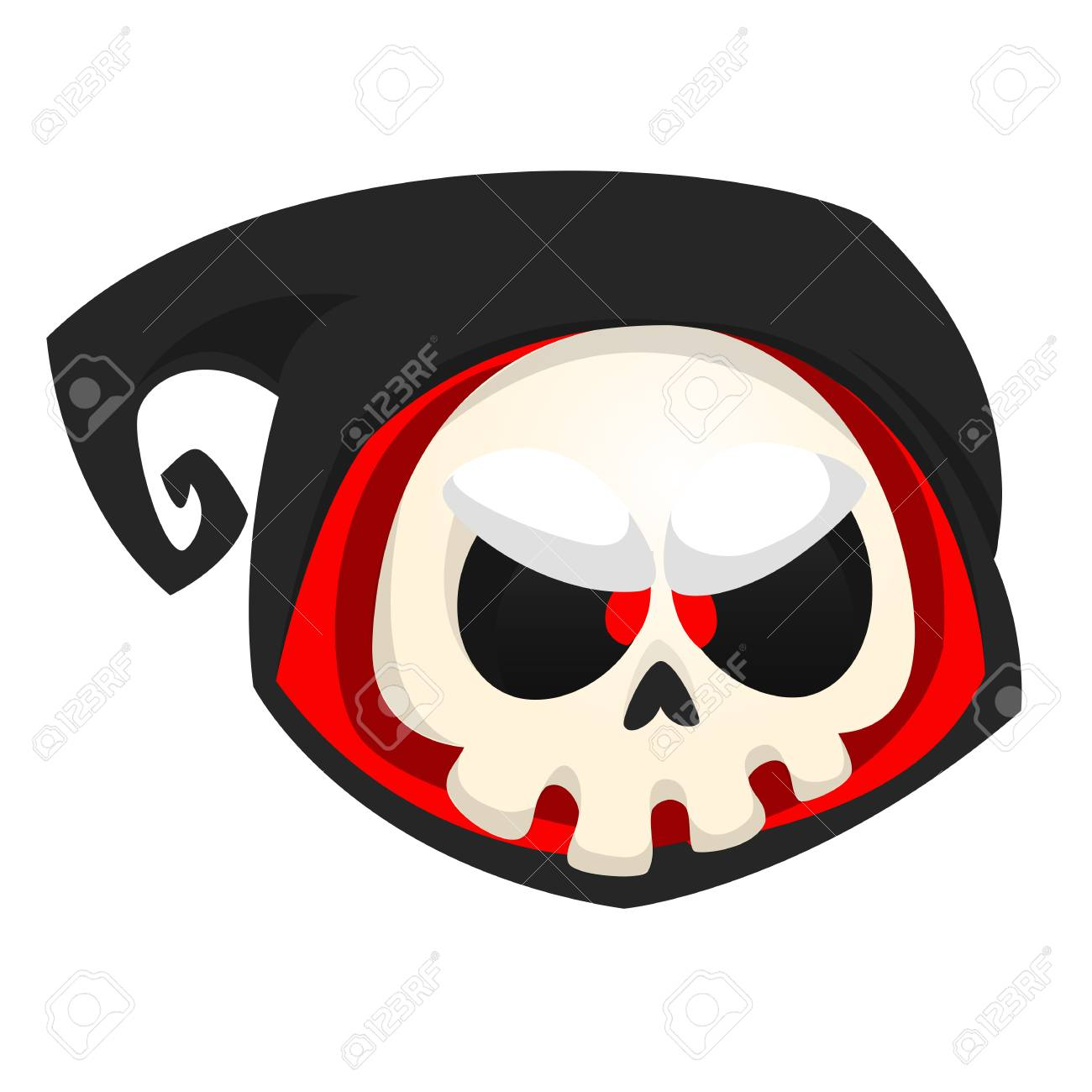 halloween vector icon of death skull mascot isolated on white background
